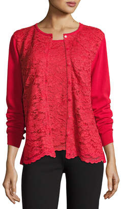 Joan Vass Lace-Inset Button-Front Long-Sleeve Cardigan