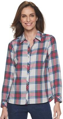 Croft & Barrow Petite Print Flannel Shirt