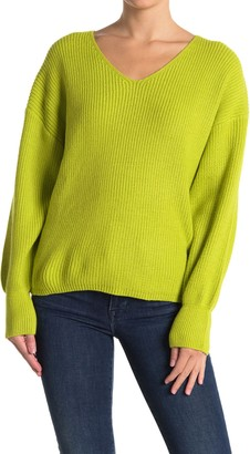 Lush Solid Ribbed Knit Sweater