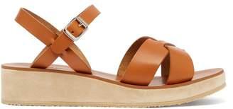 A.P.C. Originales Leather And Suede Platform Sandals - Womens - Tan