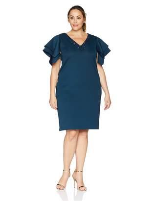 SL Fashions Women's Plus Size Flutter Sleeve Dress