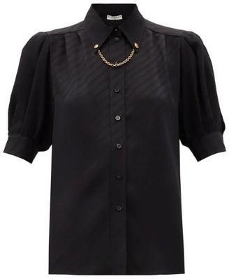 Givenchy Chain-collar Logo-jacquard Silk Blouse - Black