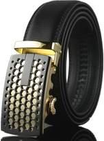 Kuji Men's Automatic Buckle Black Cowhide Belt 35 mm Width