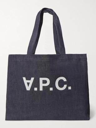A.P.C. Daniela Logo-Print Denim Tote Bag