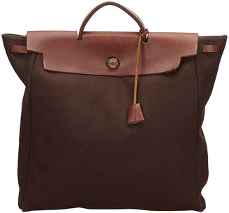 Hermes Brown Toile And Leather Herbag