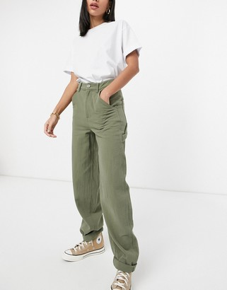 ASOS DESIGN slouchy trackies in khaki cheesecloth