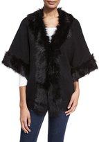 Adrienne Landau Fur-Trim Knit Kimono Sweater, Black/Black