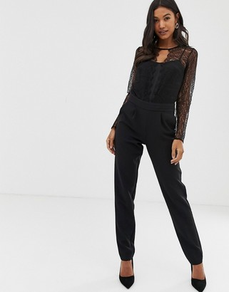 Morgan lace sleeve jumpsuit in black