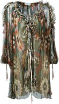 Chloé ruffled neckline printed dress - women - Silk - 38