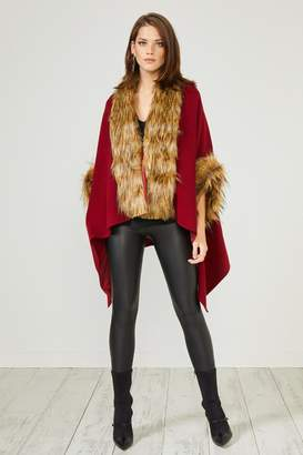 Urban Touch Red Fauxfur Trimcoat