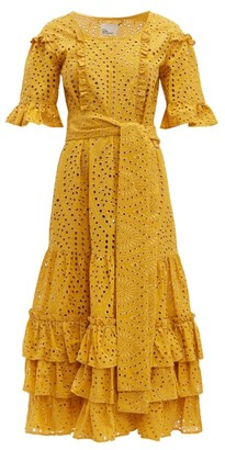 Lisa Marie Fernandez January Broderie-anglaise Cotton Midi Dress - Womens - Yellow