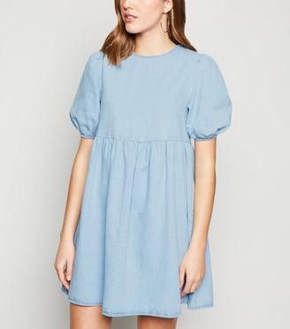 New Look Denim Puff Sleeve Smock Dress