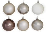 Bloomingdale's Shiny and Matte Silver Glass Ball Ornaments, Set of 6