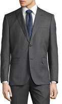 Neiman Marcus Sharkskin Modern-Fit Two-Piece Wool Suit, Charcoal