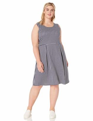 Star Vixen Women's Size Plus-Sz Classic Str Ponte KNT Slvlss Box-PLT FitnFlare Dress