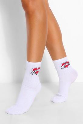 boohoo Babygirl Heart Sports Sock