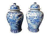 One Kings Lane Vintage Blue & White Lidded Ginger jars