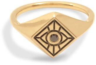 Black Diamond Futaba Hayashi Vision Signet Ring With 14K Yellow Gold