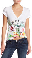 True Religion V-Neck Tropical Print Tee