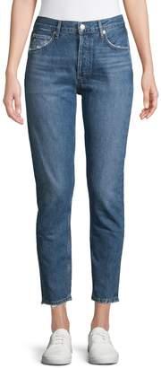 A Gold E Agolde Jamie High-Rise Classic Raw Crop Jeans