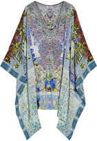 Camilla My Marjorelle Crystal-embellished Printed Silk Crepe De Chine Kaftan - Sky blue