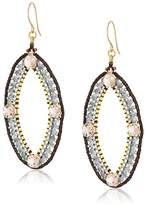 Miguel Ases Quadruple Swarovski Point Open Marquise Drop Earrings