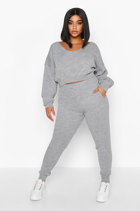 boohoo Plus Cropped V Neck Knitted Lounge Set