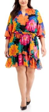 Calvin Klein Size Ruffled Floral-Print Dress