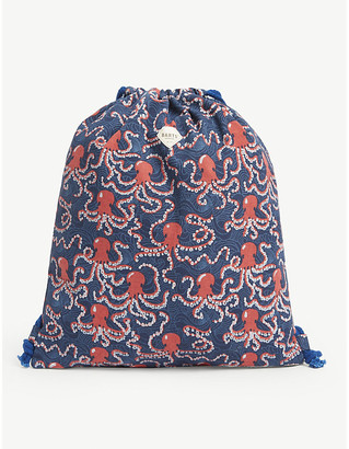 Kids octopus-print cotton swim bag