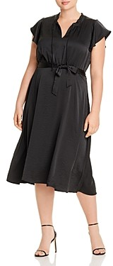 B Collection by Bobeau Curvy Savoy Flutter-Sleeve Belted Midi Dress