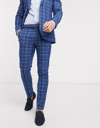 Topman skinny fit checked suit pants in blue