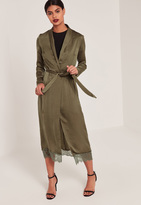 Missguided Khaki Lace Hem Silk Duster Coat