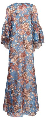 Biyan Gallie Floral-print Silk Maxi Dress - Blue Multi