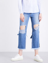 Sjyp Strap-tied high-rise straight jeans