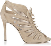 Jimmy Choo KEENA 100 Nude Mix Suede and Mirror Leather Sandal Booties