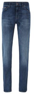 HUGO BOSS Regular Fit Jeans In Gray Cashmere Touch Denim - Blue