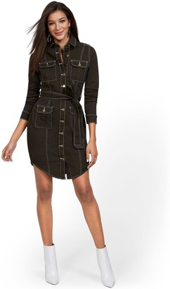 New York & Co. Contrasted Stitch Denim Dress