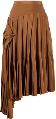 Rochas Asymmetric Pleated Skirt