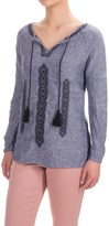 Artisan NY Cross-Dye Embroidered Peasant Top - Linen, Long Sleeve (For Women)