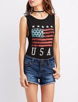 Charlotte Russe American Flag Graphic Bodysuit