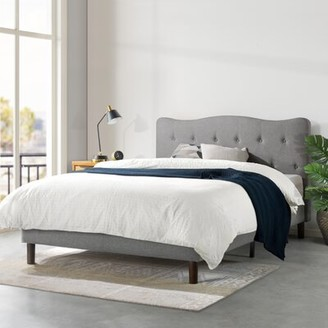 Janne Upholstered Platform Bed, Modern Tufted Headboard, Real Wooden Slats And Legs, Classic Grey, Full Mellow Size: King