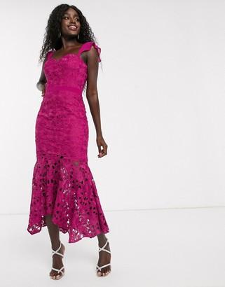 Chi Chi London lace midi fishtail dress in fuchsia