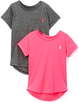 U.S. Polo Assn. Prism Pink & Gray Hi-Low Tee - Set of Two