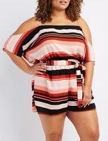 Charlotte Russe Plus Size Striped Cold Shoulder Romper