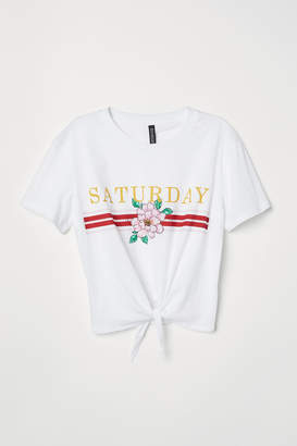 H&M T-shirt with Tie - White