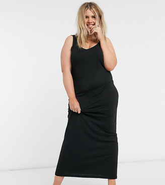 Vero Moda Curve jersey maxi dress in black