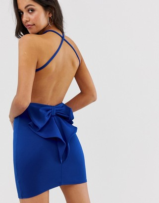 City Goddess bow back detail strappy mini dress
