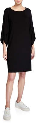 Eileen Fisher Ballet-Neck 3/4-Sleeve Shift Dress