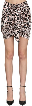 Alexandre Vauthier Printed Stretch Satin Draped Mini Skirt