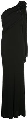 Badgley Mischka Empire Line One Shoulder Dress